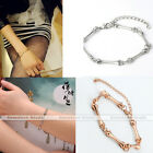 1x Womens Metal Skeleton Bone Link Chain Bracelet Punk Rock Gothic Cool 2 Colors