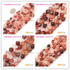 """Round Red Rutilated Quartz Jewelry Making Spacer Loose Beads Strand 15""""Size Pick"""