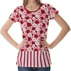 Red Pink Roses Pattern Womens Ladies Short Sleeve Top Shirt Blouse