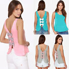 Womens Loose Casual Vest Tank Tops Summer Ladies Sleeveless Shirt Blouse Bowknot