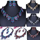 Luxury Jewelry Set Crystal Cluster Bib Statement Necklace Chunky Choker Earrings