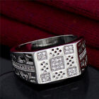 Hollow New Silver cubic zirconia Unisex Wedding Ring size 9-11