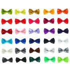 New Mens 30 Colour  Pure Plain Bow tie Polyester Pre Bow Tie