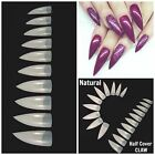 STILETTO *NATURAL* HALF COVER CLAW Nail Tips FAST SHIP! **YOU CHOOSE QTY!**