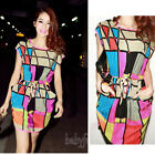 Ladies Summer Colorful Casual Short sleeve Evening Cocktail Party Dress S/M/L/XL