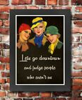 FV10 Framed Vintage Style Women Lets Judge People Downtown Funny Poster A3/A4