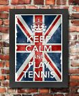 KC19 Framed Vintage Style Union Jack Keep Calm Play Tennis Funny Poster A3/A4