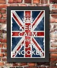 KC24 Framed Vintage Style Union Jack Keep Calm Play Snooker Funny Poster A3/A4