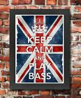 KC35 Framed Vintage Style Union Jack Keep Calm And Play Bass Funny Poster A3/A4