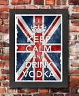 KC8 Framed Vintage Style Union Jack Keep Calm And Drink Vodka Funny Poster A3/A4