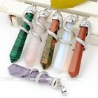 1pc Crystal Quartz Gemstone Silvery Snake Wrap Healing Point Chakra Bead Pendant