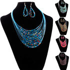 Women Necklaces Earrings Set Multicolor Multi-layer Resin Beads Jewelry unique