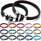 Men Women Charm Leather Wrap Wristband Cuff Punk  Alloy Buckle Bracelet Bangle