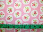 LULU ROSES - PINK ROSES IN CIRCLES 100% cotton patchwork fabric