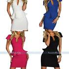 Sexy Women's Lady V Neck OL Peplum Ruffle Bodycon Cocktail Party Clubwear Dress