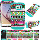 Aztec Tribe Teal Patterns Hybrid Impact Armor Cover Case for Samsung Galaxy S6