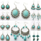 Women Jewelry Turquoise Retro Tibetan Style Silver Dangle Hook Carved Earrings