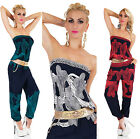 Sexy Women's Summer Jumpsuit Bandeau Catsuit Overall Harem Trouser with Belt