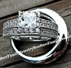 His and Hers Real Sterling Silver Engagement Ring Wedding Band Set men's women's
