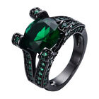 Size 6/7/8/9/10 Solid Green Emerald 10Kt Women's Black Gold Filled Wedding Rings