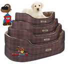 Scruffs Balmoral Pet Dog Luxury Oval Bed Tartan Check 4 Sizes Black Blue Brown