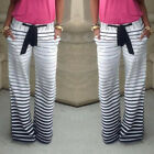 Womens Casual Elastic Wasit Striped Wide Leg Palazzo Trousers Long Yoga Pants