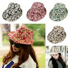 Mens Womens Cotton Summer Panama Fedora Trilby Hat Leafs Printed Gangster Cap