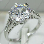 Size 6-10 White AAA Zircon Wedding Ring Women's Silver Plated Engagement Jewelry