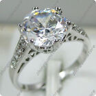 Size 6-10 Round Cut White CZ Engagement Ring Women's Silver Plated Wedding Band