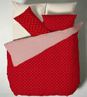 Polka Dot Duvet Quilt Cover Set, Reversible Single Double King Bedding, Navy Red