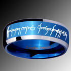 Tungsten LOTR Shiny Blue IP Beveled Edge Lord of the Ring Half Sz 4-14