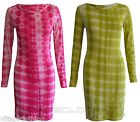 New Womens Check Detail Long Sleeve Tie Dye Tunic Top Bodycon Dress 8 10 12 14