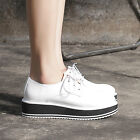 fashion womens oxfords lace up creeper pu leather white black US9 preppy shoes