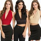 2015 Women's pinup Deep V Crop Top Belly Shirt Midriff Bodycon Backless Blouse