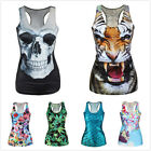 Sexy Women Lady 3D Claw/Skeleton/Skull Head Print Gothic Punk Tank Tops Blouse