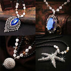 Fashion Retro Pendant Necklace Opal Full Diamond Beads Sweater Chain