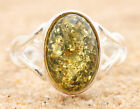 BALTIC AMBER RING * STERLING SILVER * GREEN p6