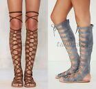 Roman Womens Suede Lace Up Knee HIgh Boots Hollow Flat Gladiator Sandal Shoes