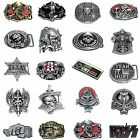 BBUM0363 MANY CASUAL STYLES LETTERS / SKULL / SYMBOLS ALLOY METAL BELT BUCKLE
