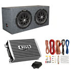 "Kicker 600 Watt 12"" Subwoofers (Pair) + Sealed Box Enclosure + Amp + Wiring Kit"