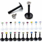 Mixed Acrylic CZ Gem Labret Stud Monroe Bar Lip Tragus Ring Body Piercing Lot