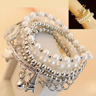 Women Gold Silver Jewelry Pearl Pretty Chain Multilayer Pendant Bracelet Bangle