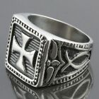 Stainless Steel Square Holy Cross Carved Spot Polished Biker Rings Size 7-15