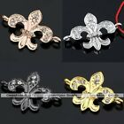Rhinestone Fleur-De-L Flower Side Ways Metal Connector Charms Bead Finding DIY