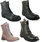 8174 Womens Lace Up 2 Eyelet Hook Combat Flat Shoes Military Round Toe Boots Lad