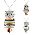 New Women Chic Silver Plated Owl Vintage Long Chain Pendant Necklace