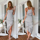 Fashion Women Lady Summer Celebrity Style Monochrome Stripe Long Maxi Dress W2