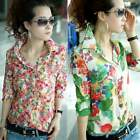 K0E1 Fashion Women's Mid Sleeve Multicolour Floral Casual Top Blouse T-Shirt Tee