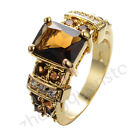 Jewelry Ring Size 6-10 Brown Coffee Crystal CZ Man's Yellow Gold Filled Wedding