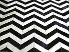 bunkar's Handmade Natural Cowhide Leather Rugs 'Black White Chevron'